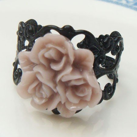 Adjustable Size Brass Brown Resin Flower Ring