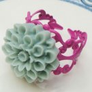 Adjustable Size Brass Blue Resin Flower Ring