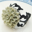 Adjustable Size Brass Green Resin Flower Ring