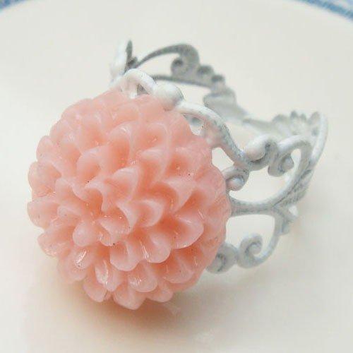 Adjustable Size Brass Pink Resin Flower Ring