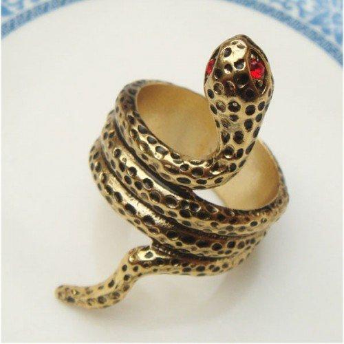 Size 7.0 Retro Brass Snake Ring Vintage Style