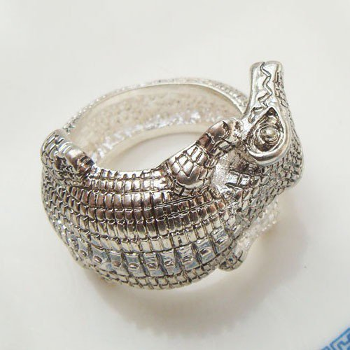 Size 5.5 Silver Plated Brass Crocodile Ring