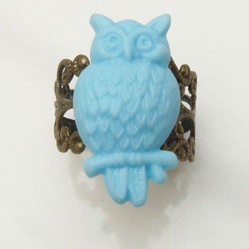 Adjustable Size Antique Brass Resin Owl Ring