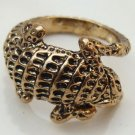 Size 6.5 Antique Brass Newt Ring