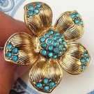 Adjustable Size 7.2-8.2 Antique Brass Flower Ring