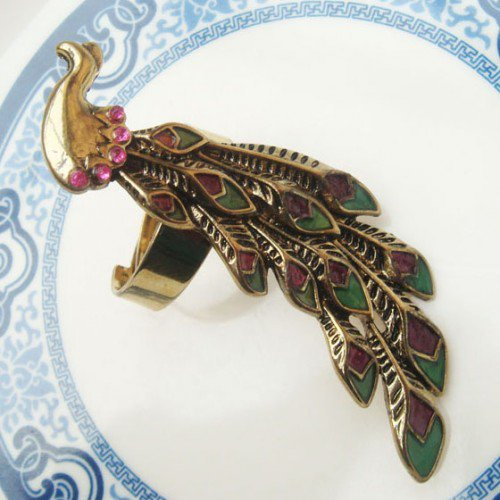 Size 8.4 Antique Brass Peacock Ring