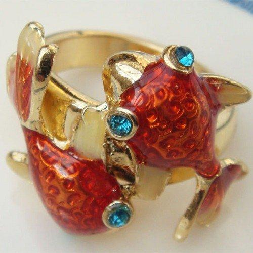 Size 6.0 Antique Brass Goldfish Ring
