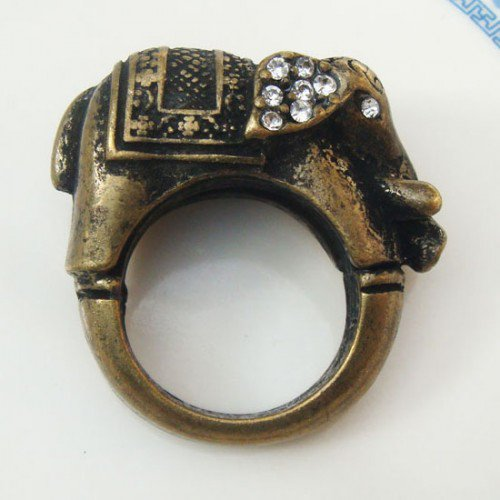 Size 6.6 Antique Brass Elephant Ring