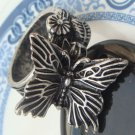 Size 7.5 Silver Plated Antique Brass Butterfly Ring