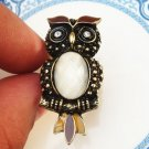 Adjustable Size 6.3-7.3 Antique Brass Owl Ring