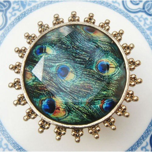 Size 6.3 Antique Brass Peacock Leather Ring