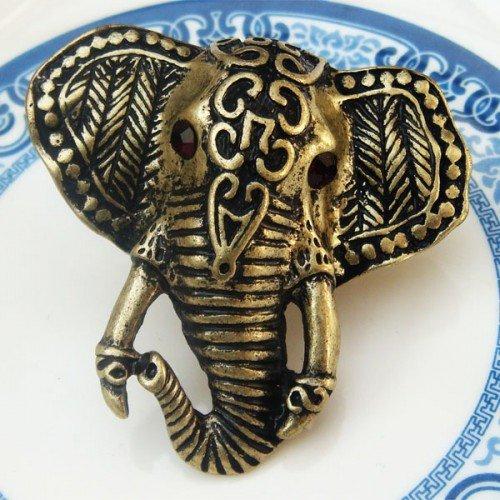 Adjustable Size 6.1-7.1 Antique Brass Elephant Ring