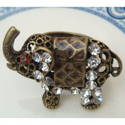 Size 5.9 Antique Brass Elephant Ring