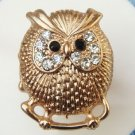 Stretchable Size Antique Brass Owl Ring