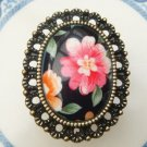 Size 6.0 Antique Brass Flower Ring