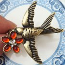 Size 6.0 and 7.0 Antique Brass Swallow 2-finger Ring