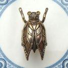Adjustable Size 6.5-7.5 Antique Brass Cicada Ring