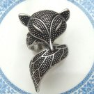 Size 6.5 Silver Plated Antique Brass Fox Ring