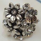 Size 7.0 Silver Plated Antique Brass Flower Ring