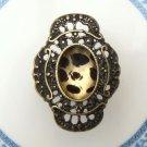 Size 6.3 Antique Brass Flower Ring
