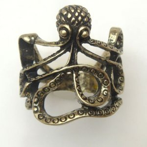 Size 6.6 Antique Brass Octopus Ring