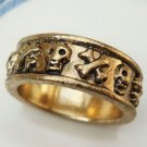 Size 9.0 Antique Brass Danger Skull Ring