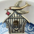 Stretchable Size Antique Brass Crystal Bird Ring
