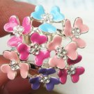 Sizse 7.5 Silver Plated Retro Brass Crystal Flower design Ring