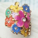 Sizse 6.3 Retro Brass Crystal Flower Beetle Butterfly design Ring