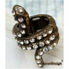Sizse 6.3 Elegant Brass Crystal Snake design Ring