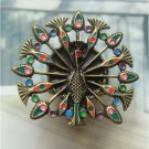 Sizse 7 Elegant Brass Crystal Peacock design Ring