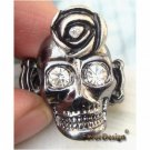 Lovely Swarovski Crystal Silver Plated Skull Stretch Ring Vintage Style