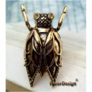 Adjustable Size 6.0+ Swarovski Crystal Retro Copper Cicada Ring