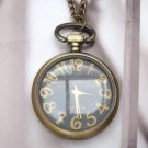 Retro Brass Disc Pocket Watch Pendant Necklace