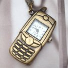 Retro Brass Cellphone Pocket Watch Pendant Necklace