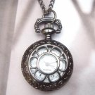 Retro Brass Window Locket Pocket Watch Pendant Necklace