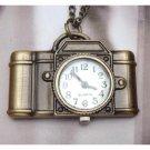 Retro Brass Camera Pocket Watch Pendant Necklace