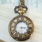 Retro Brass Clock Locket Pocket Watch Pendant Necklace M