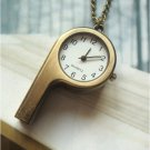 Retro Brass Whistle Pocket Watch Pendant Necklace