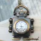 Retro Copper Robot Pocket Watch Necklace Pendant VINTAGE Style