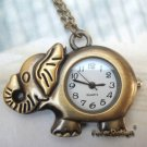 Retro Copper Elephant Pocket Watch Necklace Pendant Vintage Style