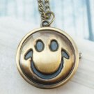 Retro Brass Smile Pocket Watch Locket Pendant Necklace Vintage Style