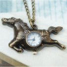 Retro Copper Horse Pocket Watch Necklace Pendant Vintage Style