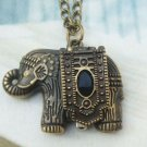 Retro Brass Elephant Pocket Watch Locket Necklace Vintage Style