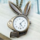 Retro Copper Bunny Pocket Watch Necklace Pendant Vintage Style