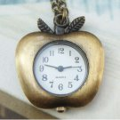 Pretty Retro Copper Apple Pocket Watch Necklace Pendant Vintage Style