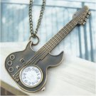 Retro Copper Guitar Pocket Watch Necklace Pendant VINTAGE Style