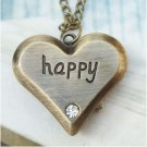 Retro Brass Happy Heart Pocket Watch Locket Necklace Vintage Style
