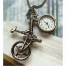 Retro Brass Bike Pocket Watch Pendant Necklace