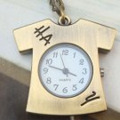Retro Brass T-shirt Pocket Watch Pendant Necklace